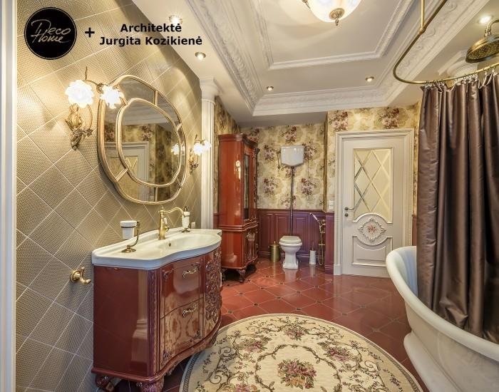 Klasikiniai, geleti tapetai. Kt exclusive, WallQuest. Klasikine vonios kamberio iranga.